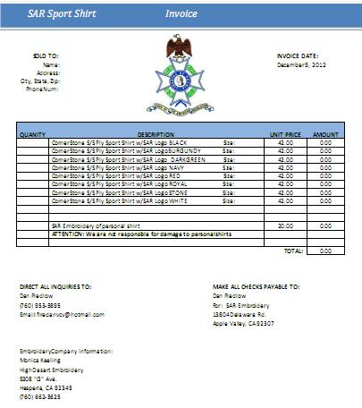 SAR Shirt Order Form PDF
